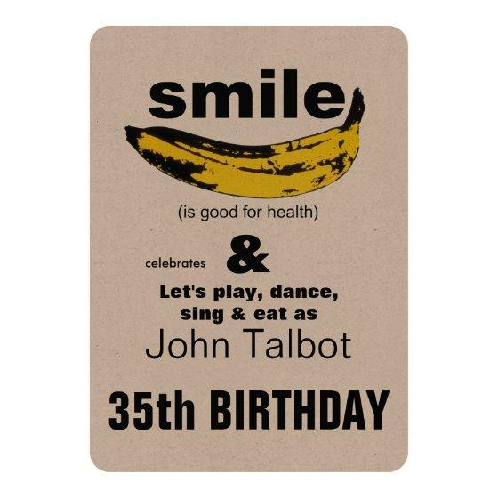 280 Smile Is Good For Health 35th Birthday Invitation