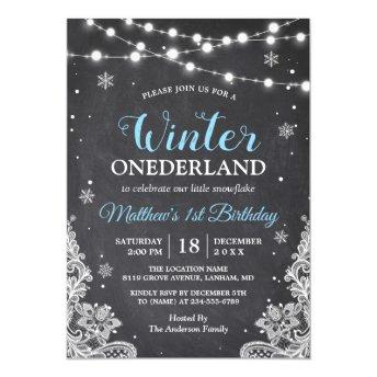 Snowflakes Chalkboard Lace Baby Boy First Birthday Invitation
