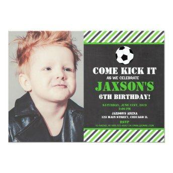 Soccer ball birthday party green black photo invitation