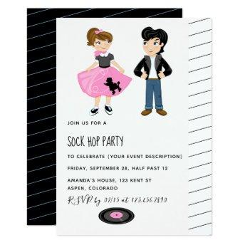 Sock Hop Kids Rock and Roll Retro Party Invitation