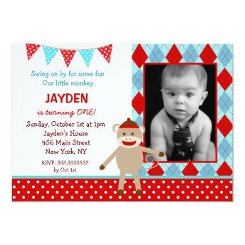 Sock Monkey Photo Birthday Invitation