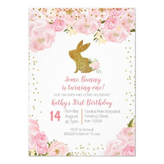 2.00 Some Bunny is Turning One 1st Birthday Invitation