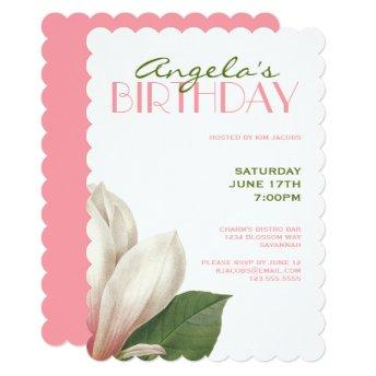 Southern Magnolia Birthday | Pink Green White Invitation