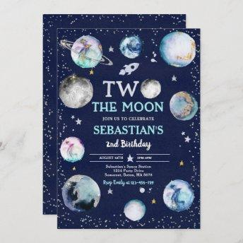 Space Birthday Party Two The Moon Boy 2nd Birthday Invitation