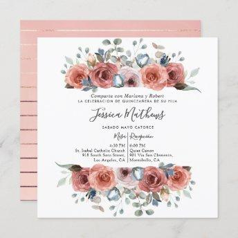 Spanish Quinceanera, Blush and Dusty Blue Floral Invitation