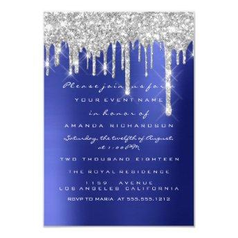 Spark Glitter Drips Silver Navy Bridal Sweet 16th Invitation