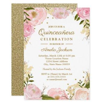 Sparkle Floral Pink Gold Quinceanera Invitation