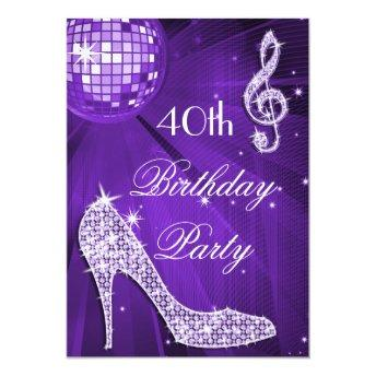 Sparkle Heels Purple Disco Ball 40th Birthday Invitation
