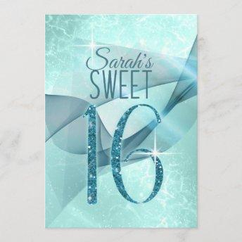 Sparkling Swirls Sweet Sixteen Teal ID652 Invitation