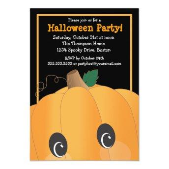 Spooky Cute Pumpkin Head Halloween Party Invitation