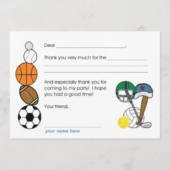 Sports Balls Birthday Party Thank you note