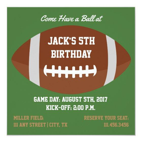 231 Square Football Themed Invite For Birthday Party