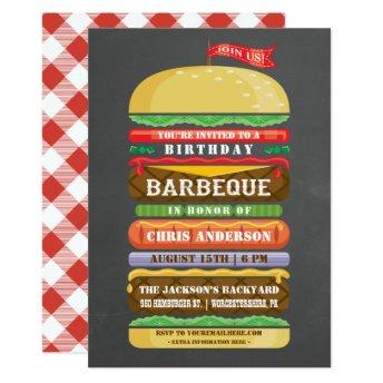 Stacked Hamburger Birthday BBQ Chalkboard