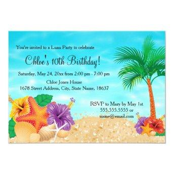 Starfish Flower Luau Birthday Party Invite