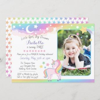 Stars & Moon Rainbow Sky Unicorn Birthday Photo Invitation