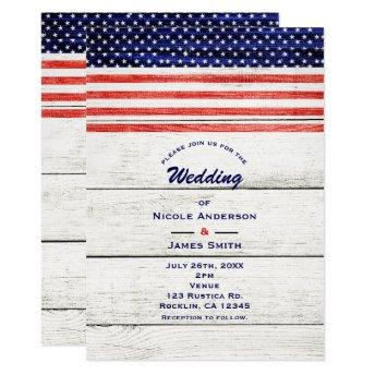 Stars & Stripes White Rustic Wood Patriotic Party Invitation