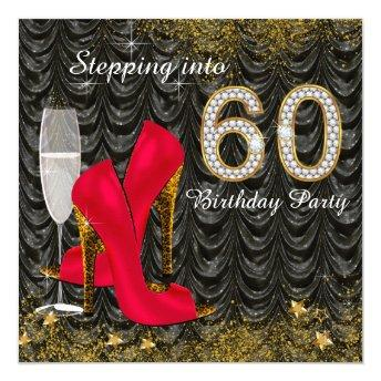Stepping Into 60 Birthday Party Glitter Satin Red