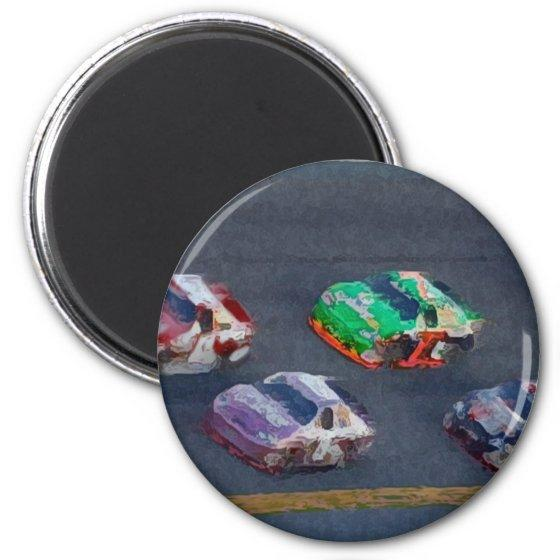 385 Stock Cars 4 2 Inch Round Magnet