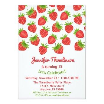 Strawberry Birthday Invitation Summer Strawberries