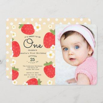 Strawberry Sweet to Be One 1st Birthday Photo Invitation