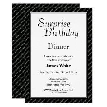 Striped Surprise 60th Birthday Dinner Invitation