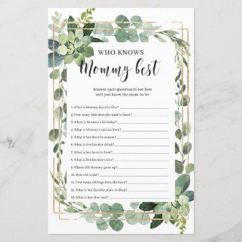 Succulent who knows mommy best baby shower game