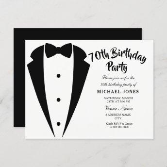 Suit & Tie mens 70th birthday party invitation