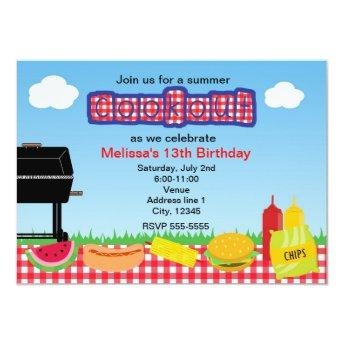 Summer Barbecue BBQ Cookout Park Invitation
