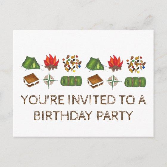 Summer Camp Tent S Mores Birthday Party Invitation Birthday Party