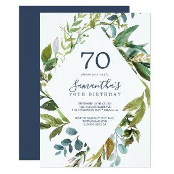 Summer Greenery Diamond Wreath 70th Birthday Invitation