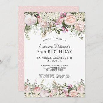 Summer Rose Garden Floral 75th Birthday Party Invitation