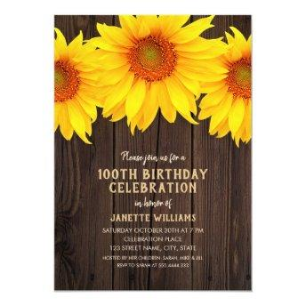 Sunflower 100th Birthday Party Rustic Wood