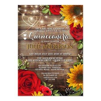 Sunflower and Rose Rustic Quinceanera Invitation