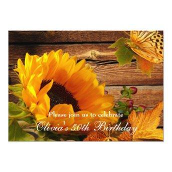 Sunflower Birthday Invitation Rustic Country Fall