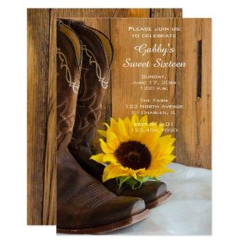 Sunflower Cowboy Boot Sweet 16 Barn Birthday Party