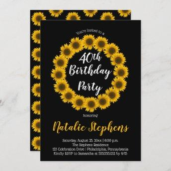 Sunflower Floral Wreath Birthday Party Invitation