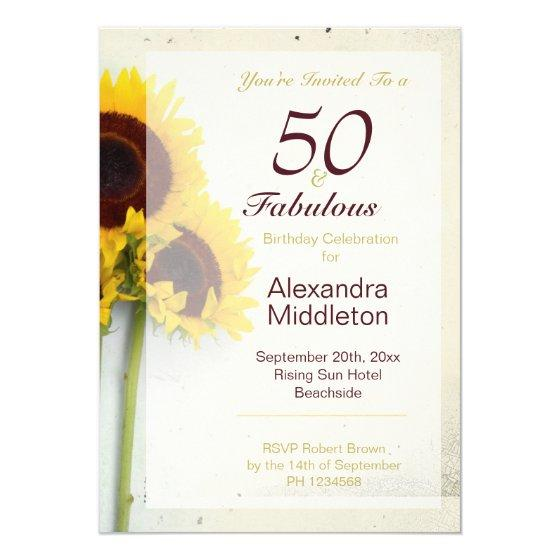 190 Sunflower Rustic 50th Birthday Invitation