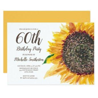 Sunflower Watercolor Floral White 60th Birthday Invitation
