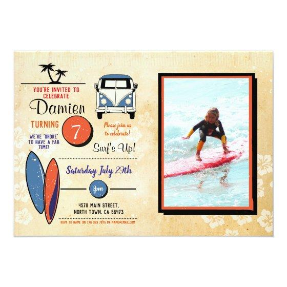 Surfs Up Surfing Birthday Beach Party Photo Invitation