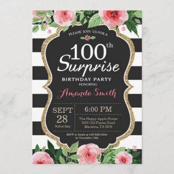 Surprise 100th Birthday Invitation Women Floral