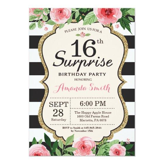 190 Surprise 16th Birthday Invitation Floral