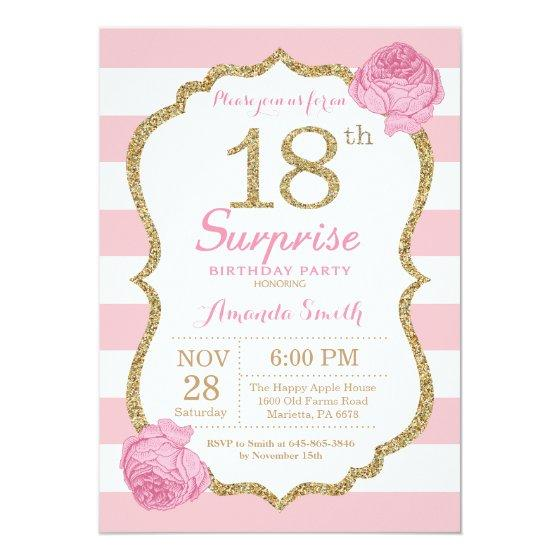 190 Surprise 18th Birthday Invitation Pink And Gold