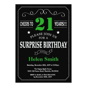 Surprise 21st Birthday Black and Green Chalkboard Invitation