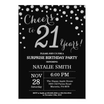 Surprise 21st Birthday Black and Silver Diamond Invitation