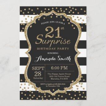 Surprise 21st Birthday Invitation. Gold Glitter Invitation