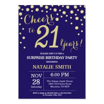 Surprise 21st Birthday Navy Blue and Gold Diamond Invitation
