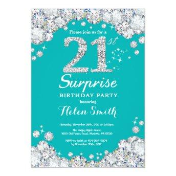 Surprise 21st Birthday Teal and Silver Diamond Invitation