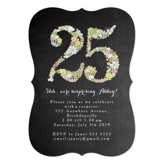 231 Surprise 25th Number 25 Birthday Party Invite
