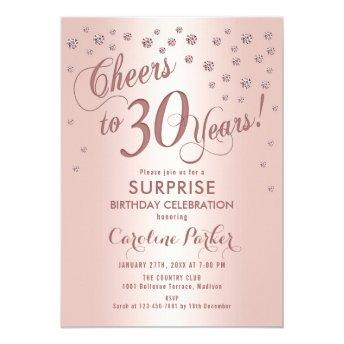 Surprise 30th Birthday Party - Rose Gold Invitation