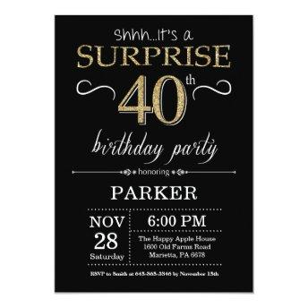 Surprise 40th Birthday Invitation Black And Gold